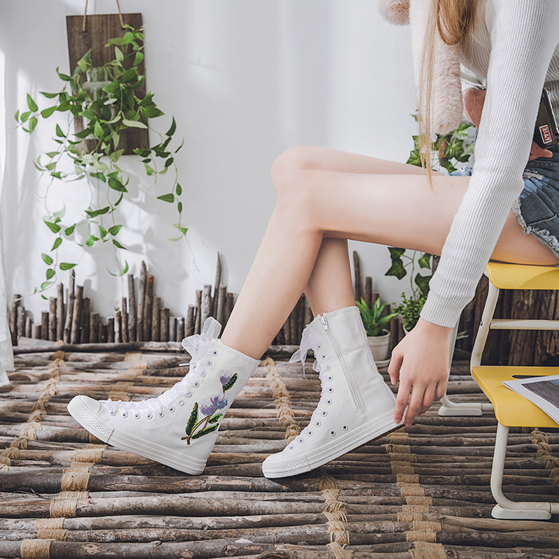 2019New style casual shoes, canvas shoes, inner zipper rubber shoes, middle canister shoes flat shoes women