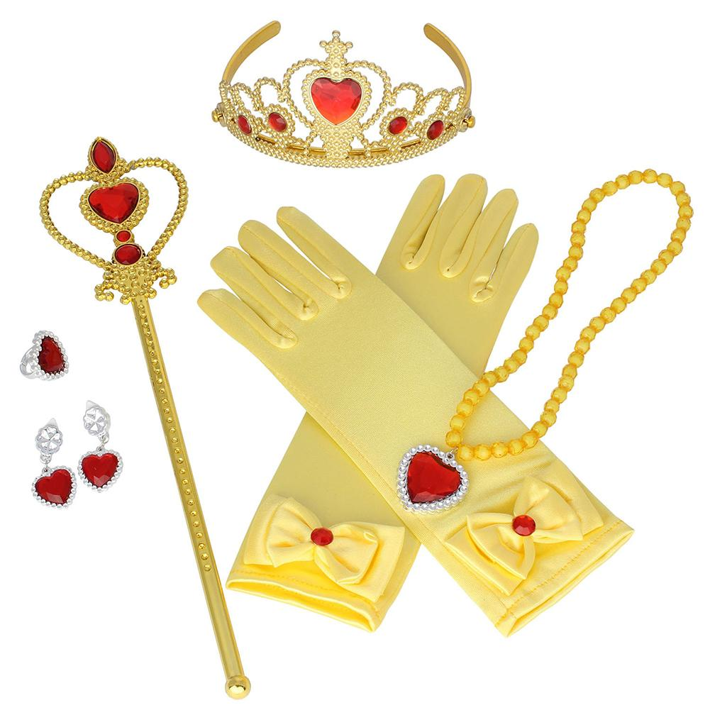 Princess Children's Crown Necklace Gloves Heart Wand Earrings Ring Set 6 Piece Accessory Girl's New Year Christmas Gift In Stock