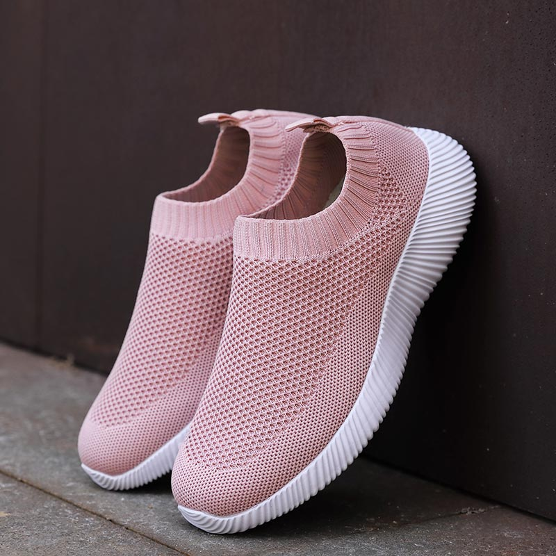 Big Size Air Mesh Lightweight Women Sports Shoes 2020 Sock Sneakers Women Running Shoes Women's Sport Shoes Slip On Pink E-411