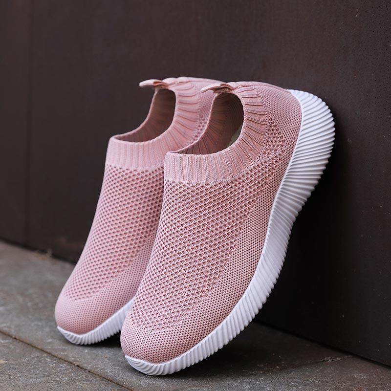 Big Size Air Mesh Lightweight Women Sports Shoes 2020 Sock Sneakers Women Running Shoes Women's Sport Shoes Slip On Pink E-411