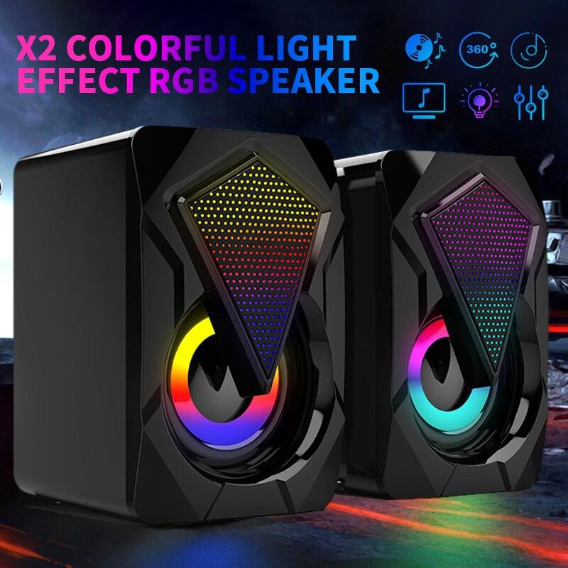 Улучшенный Эргономичный дизайн USB проводной Компьютерные колонки бас стерео сабвуфер Красочный Светодиодный светильник для ноутбука смар...