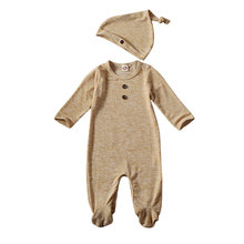 0-12M Newborn Baby Boy Girl Long Sleeve Cotton Romper Jumpsuit Hat 2PCS