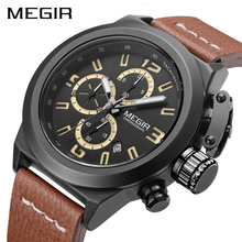 MEGIR Sports Casual Watch Men Waterproof Military ChronographWatches Mens Top Luxury Relojes Hombre Leather Strap Male Clock oulm watches male quartz watch casual leather strap military wristwatch men s watch top brand luxury clock relojes hombre