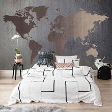 Personalizado cualquier tamaño 3D pared murales papel tapiz Retro mundo abstracto mapa Gran mural impermeable lienzo pintura papeles tapiz decoración del hogar