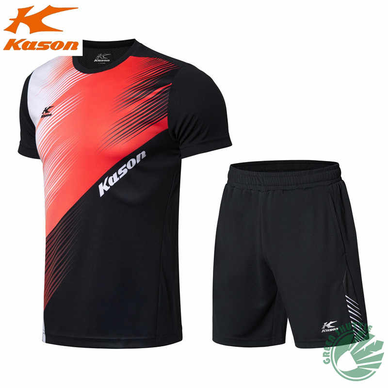 Kason New Sports Short Sleeve Quick-drying Fabric Men's Shirt shorts Badminton Clothing Suit
