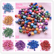 New 50pcs/lot 8mm Round Acrylic Beads Spacer Loose for Jewelry Making DIY Bracelet