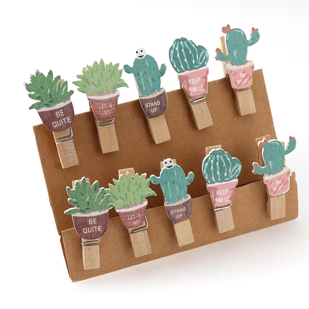 20pc Cactus Christmas Snowman Owl Mini Natural Wooden Clips With Rope For Photo Clips Clothespin Craft Decoration Clips Pegs