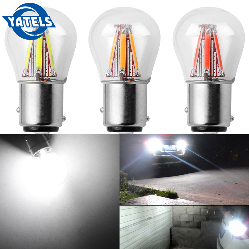 1 PCS  1156 P21W BA15S 1157 BAY15D COB LED Filament Chip Car Brake Lights Auto Reverse Bulb Parking Lamp 12V Red White Yellow