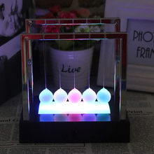 Eaducational Toys For Children Newtons Cradle Led Light Up Kinetic Energy Home Office Science Toys Home Decoration Brinquedos(China)