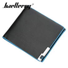 Baellerry Wallet 2019 New Men Fashion Blue Side Short PU Leather Clip Handbag Note Compartment Card Holder Coin