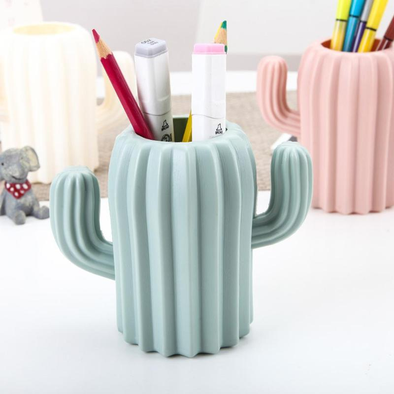1piece New Creative Cactus Shape Desktop Storage Box Pen Holder School Office Pencil Box Storage Box Cute Desk Accessories