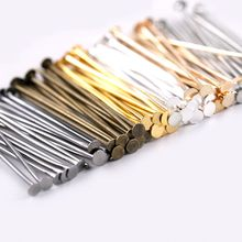 100-200 pçs/saco 20-50mm cabeça plana pinos diâmetro 0.8mm ouro/prata/ródio/bronze cabeça pinos para jóias que fazem acessórios
