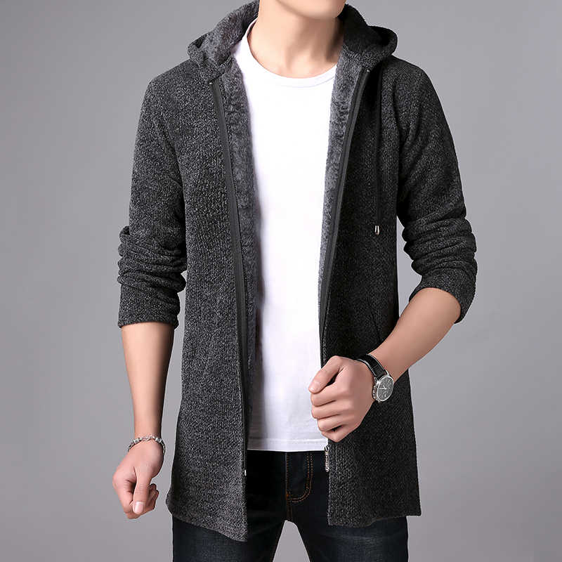 2019 nowe męskie swetry jesień zima ciepłe Zipper średniej długości sweter rozpinany mężczyzna dzianina casualowa sweter męskie ubrania