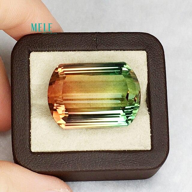 Natural  double colour Tourmaline  18.6*27*12mm 54.1ct DIY High-end Custom Ring Pendant Mosaic Stone Custom Mosaic Stone  jewelr