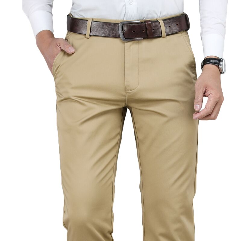 Classic Men's Khaki Casual Pants Business Fashion Cotton Solid Color Straight Stretch Trousers Male Brand Plus Size 40 42 44