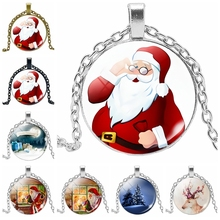 HOT! 2019 New Cartoon Oil Painting Santa Claus Series Glass Cabochon Jewelry Pendant Necklace Fashion Gift Jewelry 2019 new best selling starry unicorn series glass cabochon jewelry pendant necklace fashion jewelry gift