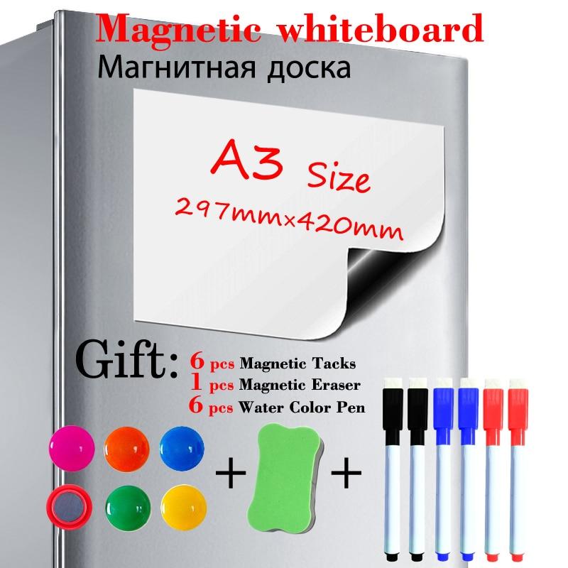 A3 Size Soft Magnetic Whiteboard Fridge Sticker Dry Erase White Board Kitchen Office Message Board Gift 6 Pen 1 Eraser 6 Tacks