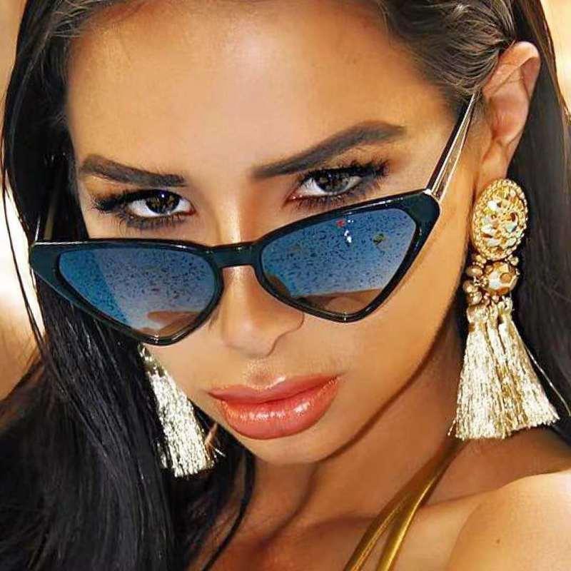 Sexy Transparent Pink Cat Eye Sunglasses Women Luxury Designer Triangle Shaped Shades For Ladies Sun Glasses Oculos De Sol UV400