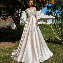 シャンパン A ラインのウェディングドレス 2019 スクープハーフスリーブレースアップリケサテン Vestido デ Noiva ボタンイリュージョン花嫁衣装
