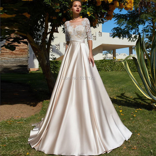 Champagne A Line Wedding Dresses 2019 Scoop Half Sleeves Lace Appliques Satin Vestido De Noiva Button Illusion Bridal Gown