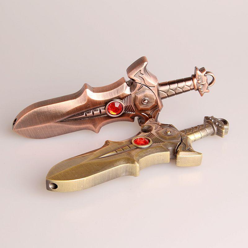 Фонарь ная креативная металлическая зажигалка с мечом, бесплатный огонь, Бутановая газовая зажигалка, зажигалка с надутой струей, фурнитур...