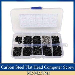 500pcs Mini Computer Screw Kit Set Screwdriver Caron Steel Flat Head bolt and 304 Stainless Steel screw