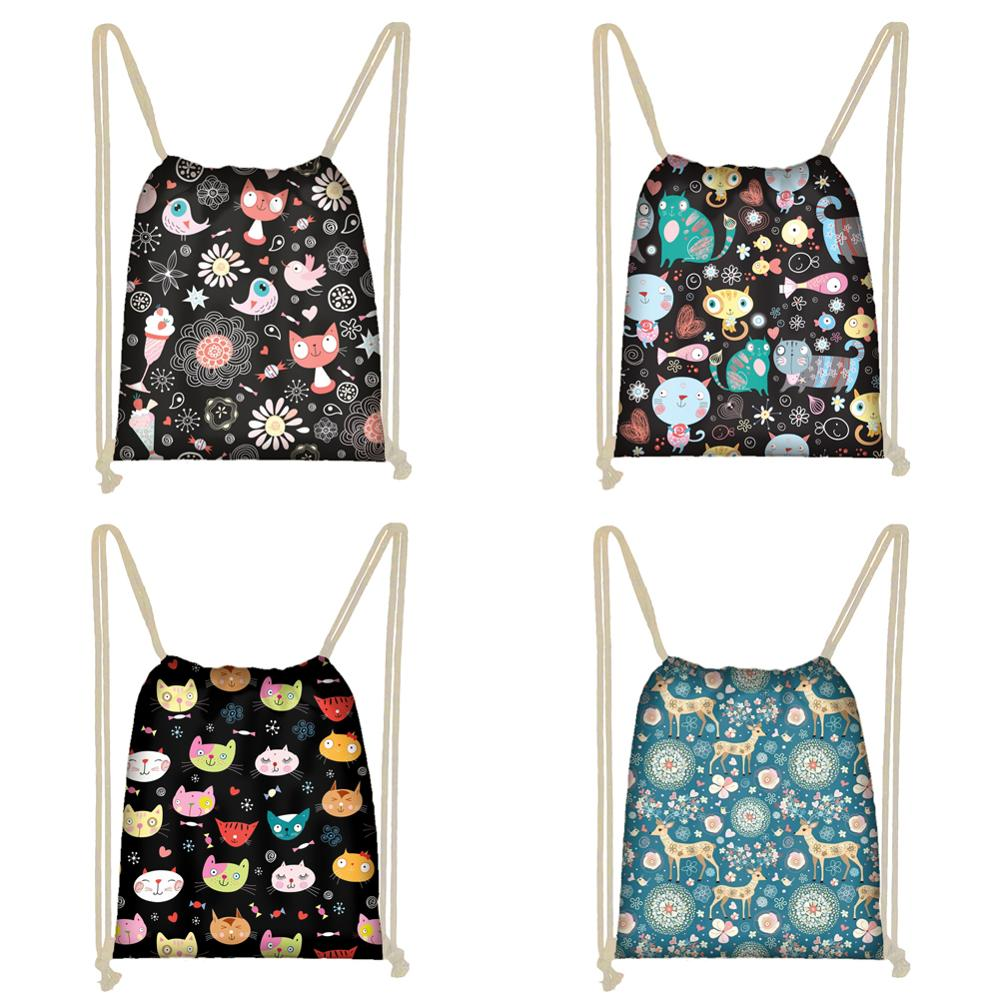Twoheartsgirl Cartoon Cat Birds Print String Sack Drawstring Backpack For Women Small Children Kids Storage Bag Travel Softbacks