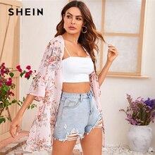 SHEIN Flounce Sleeve Open Front Floral Print Chiffon Kimono Women Summer Longline Top Ladies Boho Sheer Kimonos