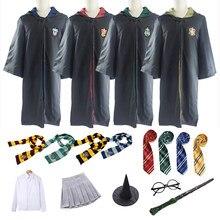 Женский костюм Поттера, костюм на Хэллоуин для детей и взрослых, Рождественская накидка для косплея с галстуком, шарф, юбка