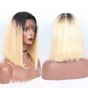Image 2 - 613 Lace Front Human Hair Wigs T1B 613 Brazilian Straight Honey Blonde Short Bob Wigs Omber Bob Lace Front Wig Cut Dolago Remy
