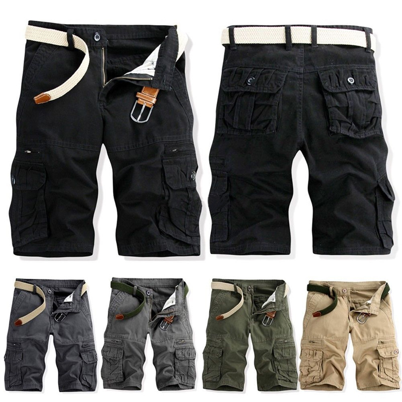 2019 Summer MEN'S Fifth Pants Large Size Workwear Shorts Pure Cotton Multi-pockets Bib Overall Shorts 038
