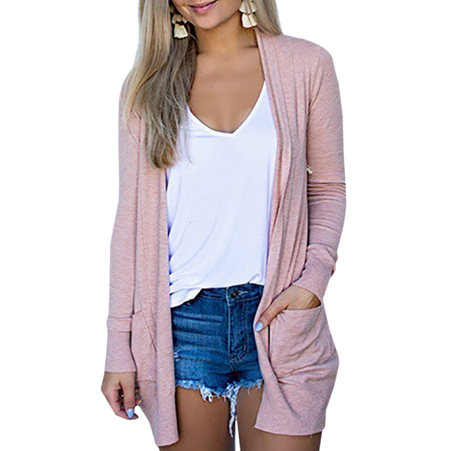 Solid Women Cardigans Long Sleeve Loose Mid Length Knittwear Casual Sweater Cardigan Female Thin Knitted Coat Cardigan Women 5
