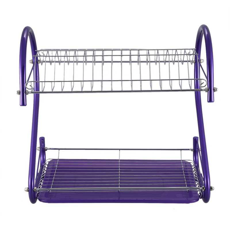 new iron 2 tiers kitchen dish cup drying rack drainer color purple storage trays aliexpress