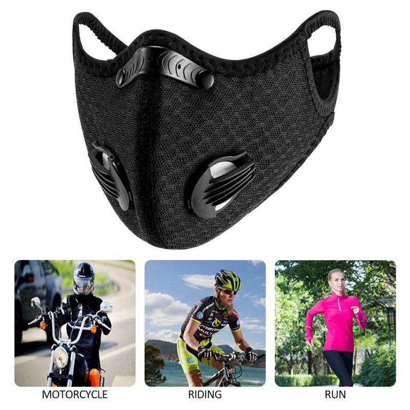 Black Motorcycle Mask Dust And Fog Protection Breathing Anti Pollution Activated PM2.5 With Activated Carbon Filter Face Mask
