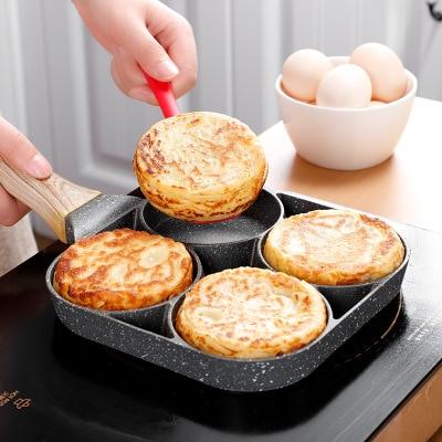 Сковорода с четырьмя отверстиями, сковорода, утолщенная Женская антипригарная сковорода для яиц, блинчиков, стейков, приготовления яиц, вет...