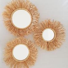 3 Pieces Wicker Round Makeup Mirror Innovative Art Decoration Dressing Bathroom Wall Hanging Mirrors Crafts Handmade dekorative