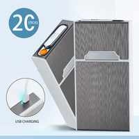 Tamaño Delgado caja para cigarrillos con mechero electrónico recargable por USB, resistente al viento, 20 piezas, mechero para mujer