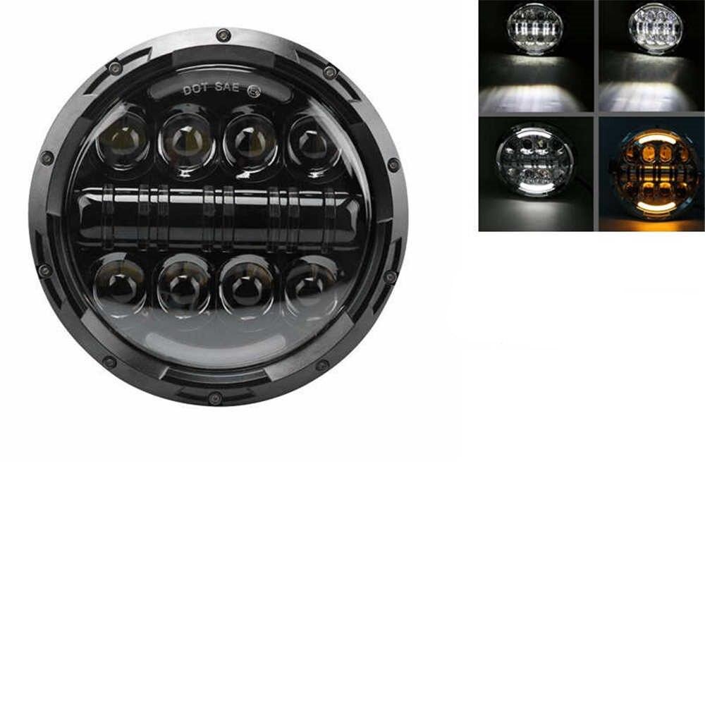 """Для lada Niva 4x4 suzuki samurai """" светодиодный DRL H4 галогеновые фары головного света для ВАЗ 2101 7 дюймовый светодиодный фар головного света с Halo Кольцо желтый сигнал поворота - Цвет: 80W Headlight Black"""