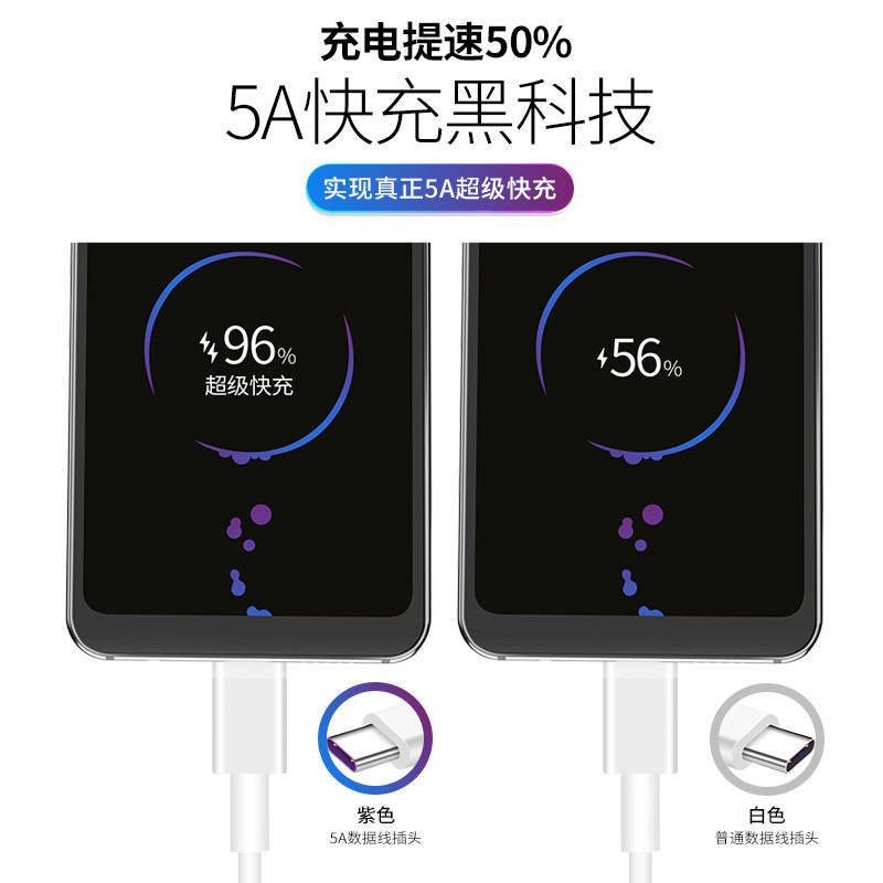 Tape C Cables 5A Supercharge Fast Charging Cable For Huawei Samsung Xiaomi Vivo Oppo Android Mobile Phone