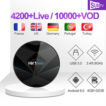 SUBTV France IPTV Italy Arabic Portugal Turkey French HK1 MINI+ Android 9.0 4G+32G BT Dual-Band WIFI 1 Year Box