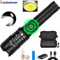 Super Bright LED Flashlight Powerful USB Rechargeable Torch Zoomable Flashlight Use 18650 Battery with USB Cable