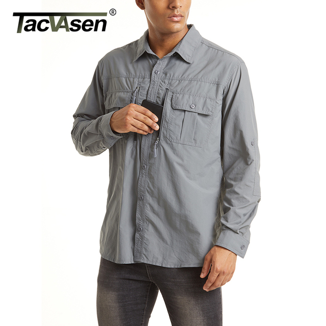 TACVASEN Summer Tactical Shirts Men's Mesh Breathable Long Sleeve Multi-Pockets Work Cargo Shirts Quick Dry Military Army Shirts