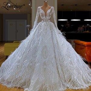 Image 2 - Abendkleider 터키 이슬람 두바이 kaftans 흰 깃털 미인 대회 파티 드레스 2020 최신 긴 댄스 파티 드레스 스팽글 이브닝 가운
