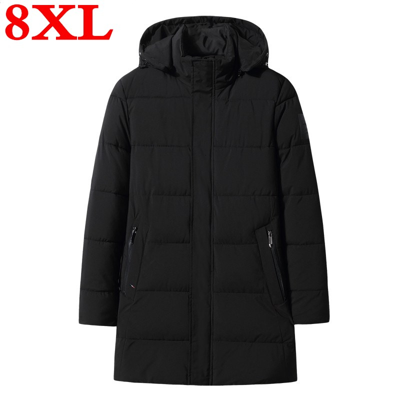 Plus Size 8XL 7XL 6XL 2019 New Winter Men's Jacket With High Quality Fabric Detachable Hat For Male's Warm Coat Simple Mens Coat