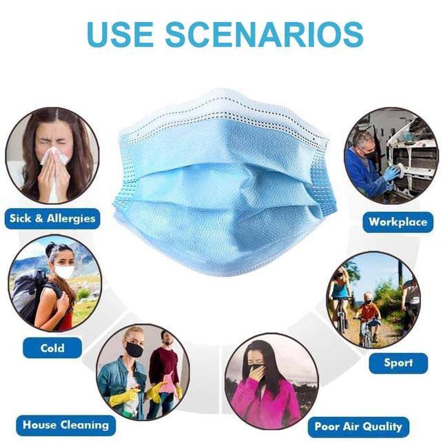 200pcs Medical Mask Disposable Surgical Masks Mascherine Antivirus FFP2 Medical Masks N95 Anti Flu Face Mask From Viruses Dust 3