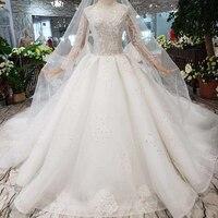 BGW HT4816 White Wedding Dresses With Bridal Veil Handmade Eastern Style Simple Wedding Gowns 2020 New Fashion High Quality
