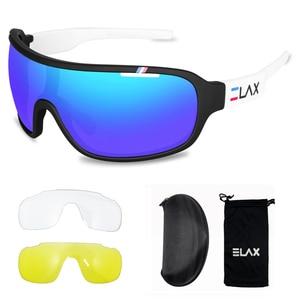 Image 4 - ELAX gafas de sol deportivas para hombre y mujer, lentes para ciclismo de montaña, con protección UV400, 3 lentes, 2019