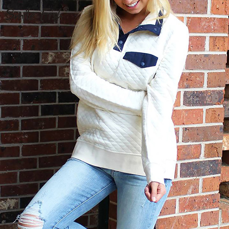 Autumn Women Sweatshirts Long Sleeve Hoodies 2019 Winter Female Turn-down Collar Casual Button Tops Sweatshirt Plus Size GV038