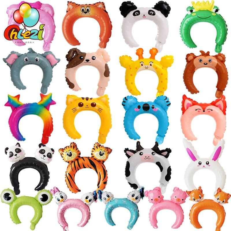 20pcs Cute Animal Tiara Headband Balloon Frog Panda Fox Tiger Cat Baby Shower Kids Toy Happy Birthday Wedding Party Decoration