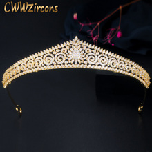CWWZircons Yellow Gold Color Women Wedding Hair Accessories Jewelry Luxury Micro Pave Cubic Zirconia Bridal Crown and Tiara A022 luxury classic cz cubic zirconia wedding bridal tiara crown diadem women hair jewelry accessories s17802